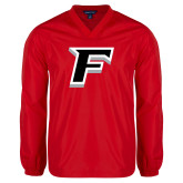 V Neck Red Raglan Windshirt-F