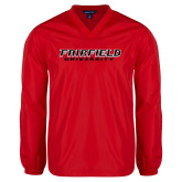 V Neck Red Raglan Windshirt-Fairfield University Stacked