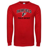 Red Long Sleeve T Shirt-Field Hockey Arched