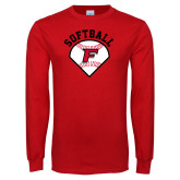 Red Long Sleeve T Shirt-Softball Diamonds with Seams