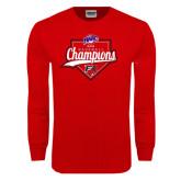 Red Long Sleeve T Shirt-2016 MAAC Baseball Champions