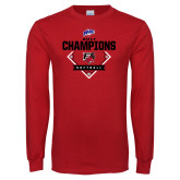 Red Long Sleeve T Shirt-2017 MAAC Softball Champions - Diamond