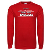 Red Long Sleeve T Shirt-Won the MAAC Womens Swimming and Diving