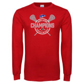 Red Long Sleeve T Shirt-MAAC 2018 Womens Lacrosse Champions