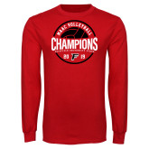 Red Long Sleeve T Shirt-2019 Volleyball Champions