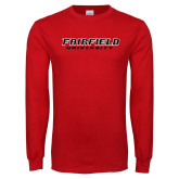 Red Long Sleeve T Shirt-Fairfield University Stacked