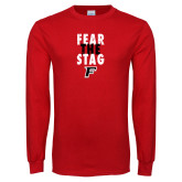 Red Long Sleeve T Shirt-Fear the Stag Distressed