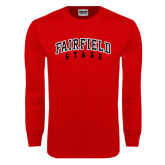 Red Long Sleeve T Shirt-Fairfield Stags Stacked