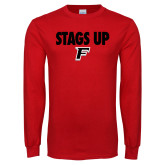 Red Long Sleeve T Shirt-Stags Up