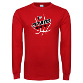 Red Long Sleeve T Shirt-Basketball Angled in Ball