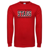 Red Long Sleeve T Shirt-Basketball Stacked