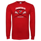 Red Long Sleeve T Shirt-Lacrosse Arched Cross Sticks