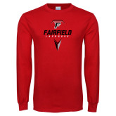 Red Long Sleeve T Shirt-Lacrosse Geometric Head