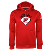 Under Armour Red Performance Sweats Team Hoodie-Softball Diamonds with Seams
