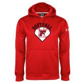 Under Armour Red Performance Sweats Team Hoodie-Softball Diamonds with Seams