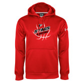 Under Armour Red Performance Sweats Team Hoodie-Basketball Angled in Ball