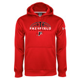 Under Armour Red Performance Sweats Team Hoodie-Basketball Half Ball