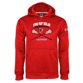 Under Armour Red Performance Sweats Team Hoodie-Lacrosse Arched Cross Sticks