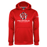 Under Armour Red Performance Sweats Team Hoodie-Soccer Geometric Ball