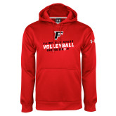Under Armour Red Performance Sweats Team Hoodie-Volleyball Dig it