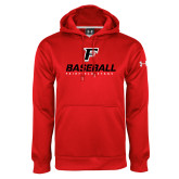 Under Armour Red Performance Sweats Team Hoodie-Baseball Type with Icon