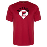 Performance Red Tee-Softball Diamonds with Seams
