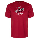 Performance Red Tee-Basketball Angled in Ball