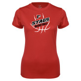 Ladies Syntrel Performance Red Tee-Basketball Angled in Ball