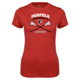 Ladies Syntrel Performance Red Tee-Lacrosse Arched Cross Sticks
