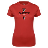 Ladies Syntrel Performance Red Tee-Lacrosse Geometric Head