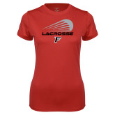 Ladies Syntrel Performance Red Tee-Lacrosse Modern