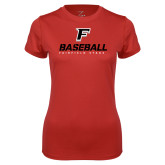 Ladies Syntrel Performance Red Tee-Baseball Type with Icon