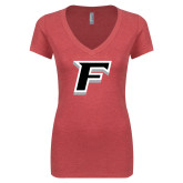 Next Level Ladies Vintage Red Tri Blend V-Neck Tee-F