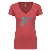 Next Level Ladies Vintage Red Tri Blend V-Neck Tee-F Silver Soft Glitter