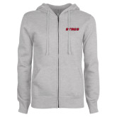 ENZA Ladies Grey Fleece Full Zip Hoodie-Stags