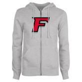 ENZA Ladies Grey Fleece Full Zip Hoodie-F