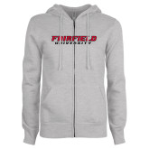 ENZA Ladies Grey Fleece Full Zip Hoodie-Fairfield University Stacked