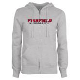 ENZA Ladies Grey Fleece Full Zip Hoodie-Fairfield University Stacked