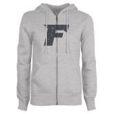 ENZA Ladies Grey Fleece Full Zip Hoodie-F Graphite Glitter