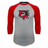 Grey/Red Raglan Baseball T-Shirt-Official Logo