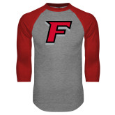 Grey/Red Raglan Baseball T-Shirt-F