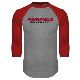 Grey/Red Raglan Baseball T-Shirt-Fairfield University Stacked