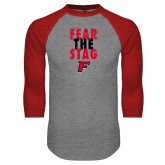 Grey/Red Raglan Baseball T-Shirt-Fear the Stag Distressed