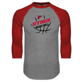Grey/Red Raglan Baseball T Shirt-Basketball Angled in Ball