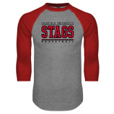 Grey/Red Raglan Baseball T-Shirt-Basketball Stacked