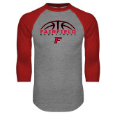 Grey/Red Raglan Baseball T-Shirt-Basketball Half Ball