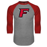 Grey/Red Raglan Baseball T-Shirt-Official Logo Distressed
