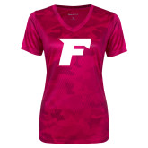 Ladies Pink Raspberry Camohex Performance Tee-F