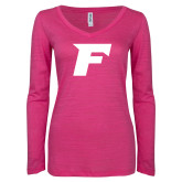 ENZA Ladies Hot Pink Long Sleeve V Neck Tee-Official Logo
