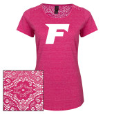 Ladies Dark Fuchsia Heather Tri-Blend Lace Tee-F
